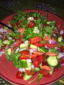 Arugula, Tomato, Cucumber, Red pepper, Smoked Salmon Salad